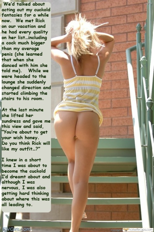 Vacation Public No Panties Flashing Bottomless hotwife caption: We'd talked about acting out my cuckold fantasies for a while now. We met Rick on our vacation and he had every quality on her list including a cock much bigger than my average penis (she learned that when she...