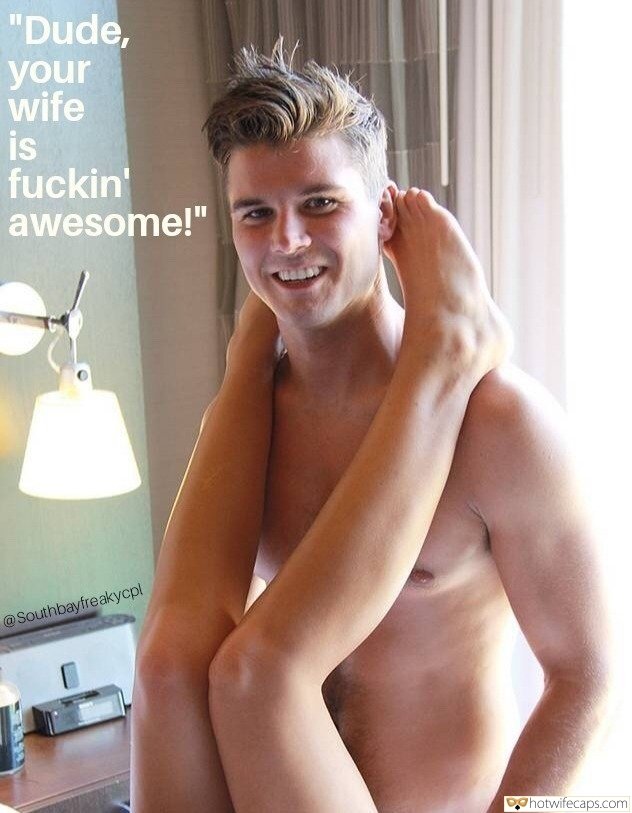 "Wife Sharing hotwife caption: ""Dude, your wife is fuckin' awesome!"" Banging Colleagues Wife Feels Awesome"