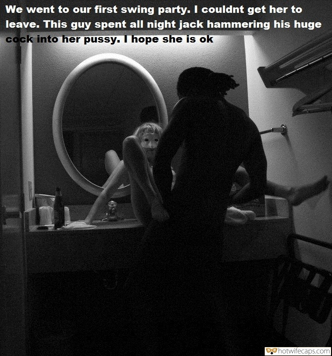 Bull BBC  hotwife caption: We went to our first swing party. I couldnt get her to leave. This guy spent all night jack hammering his huge cock into her pussy. I hope she is ok Black Bull Bangs Masked Teen in Mirror
