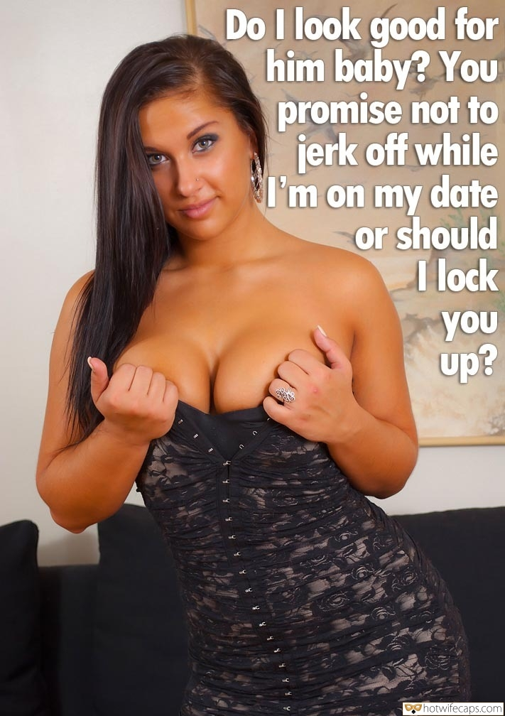 hotwife cuckold  hotwife caption busty thot enjoys teasing and posing in black dress