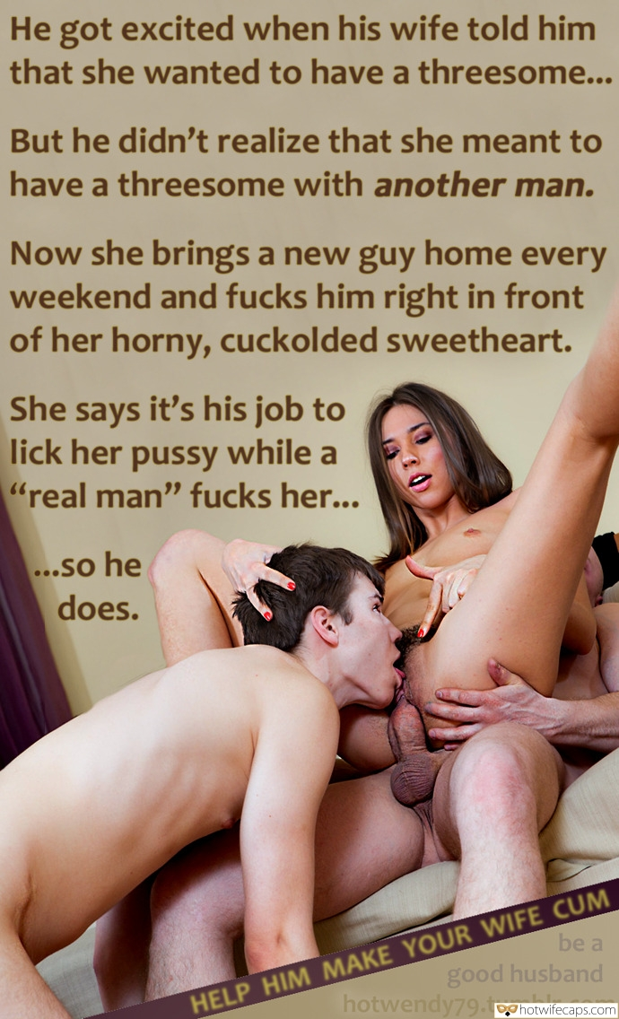 Wife Sharing Threesome Bull  hotwife caption: He got excited when his wife told him that she wanted to have a threesome… But he didn't realize that she meant to have a threesome with another man. Now she brings a new guy home every weekend and fucks...