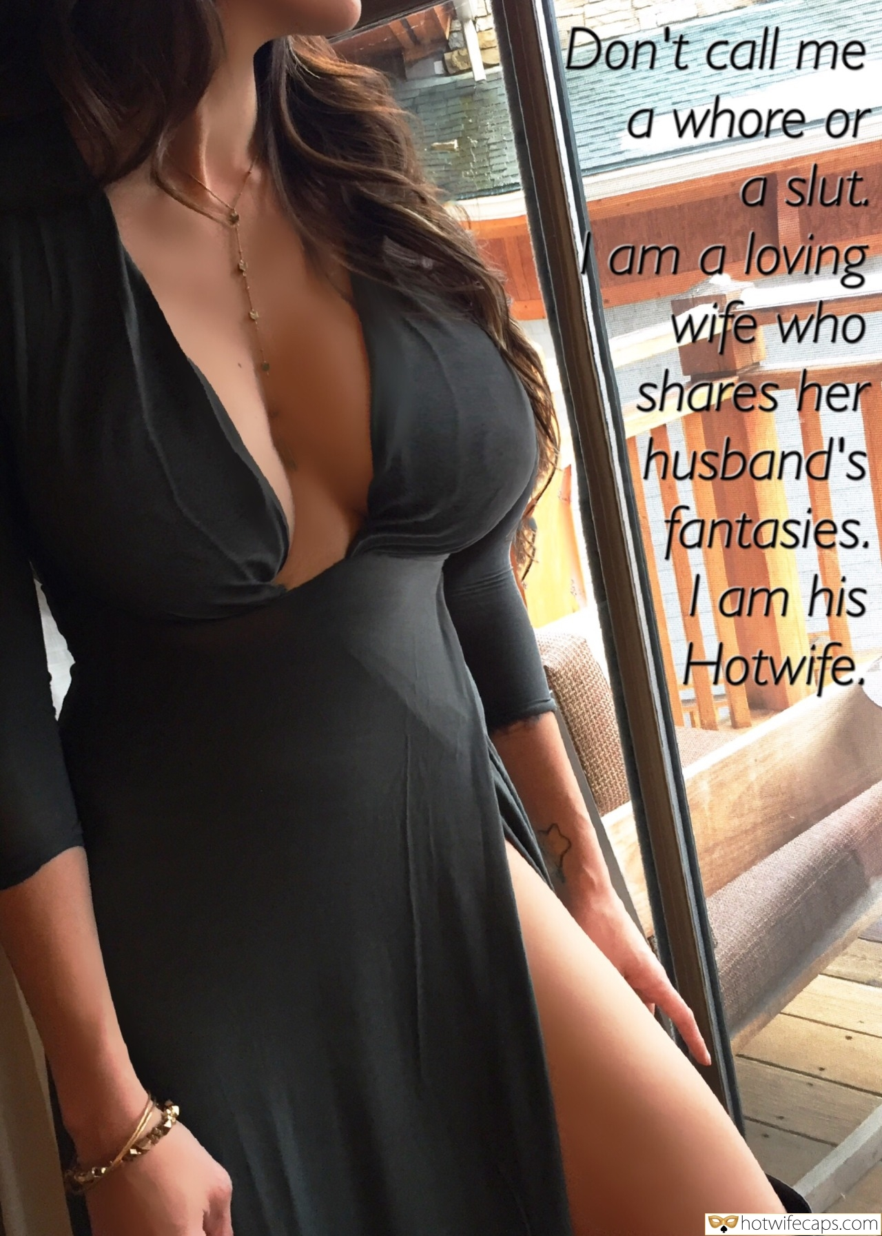 SFW Caps  hotwife caption: Don't call me a whore or a slut. am a loving wife who shares her husband's fantasies. | am his Hotwife, Curvaceous Brunette Poses in Black Dress by the Window