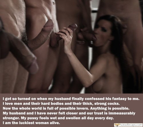 Group Sex Blowjob hotwife caption: I got so turned on when my husband finally confessed his fantasy to me. I love men and their hard bodies and their thick, strong cocks. Now the whole world is full of possible lovers. Anything is possible. My husband...