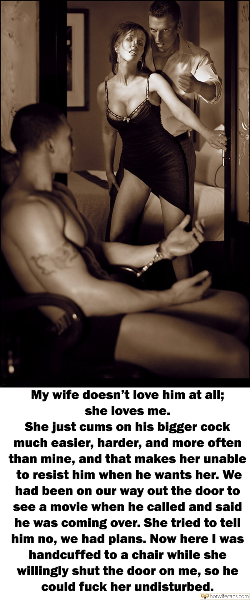 Bull Bigger Cock  hotwife caption: My wife doesn't love him at all; she loves me. She just cums on his bigger cock much easier, harder, and more often than mine, and that makes her unable to resist him when he wants her. We had been...
