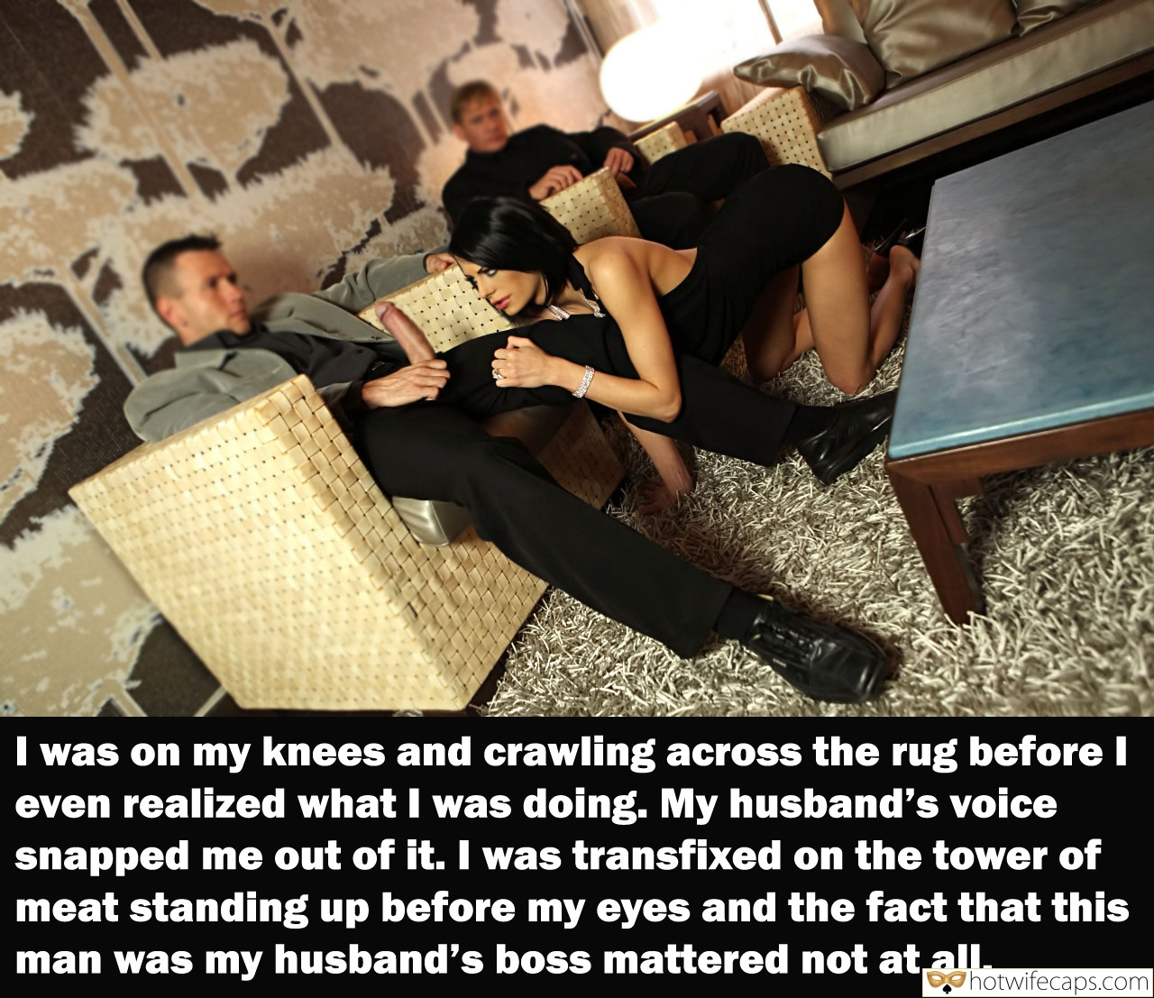 Wife Sharing Blowjob Bigger Cock hotwife caption: I was on my knees and crawling across the rug before I even realized what I was doing. My husband's voice snapped me out of it. I was transfixed on the tower of meat standing up before my eyes and...