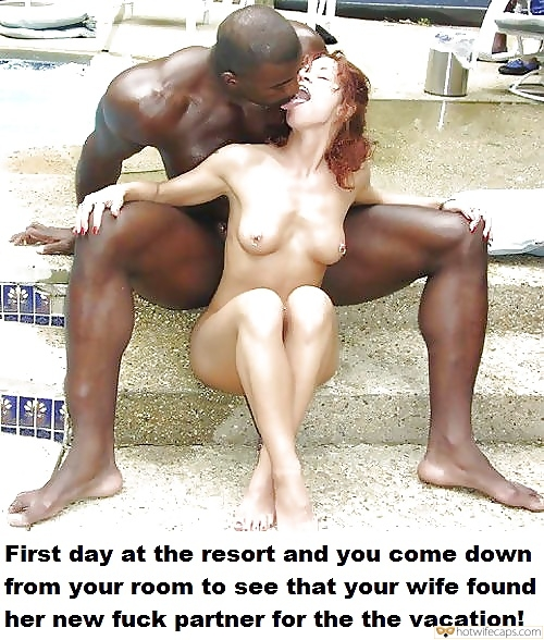 BBC hotwife caption: First day at the resort and you come down from your room to see that your wife found her new fuck partner for the the vacation! Nude Petite Redhead Kissing Huge Black Muscle Man