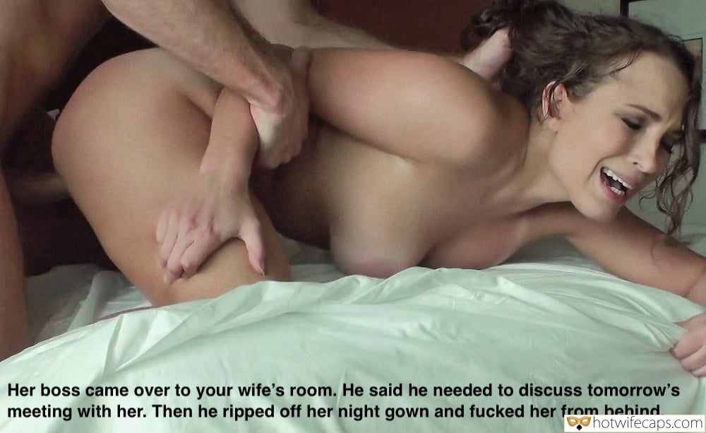 It's too big Boss hotwife caption: Her boss came over to your wife's room. He said he needed to discuss tomorrow's meeting with her. Then he ripped off her night gown and fucked her from behind. Wife Can T Take Her Boss Huge Cock