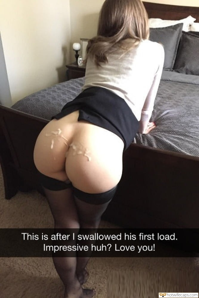 Snapchat Cum Slut Bull hotwife caption: This is after I swallowed his first load. Impressive huh? Love you! Bareass Bent Over Showing Hubby How Much Her Bull Can Cum
