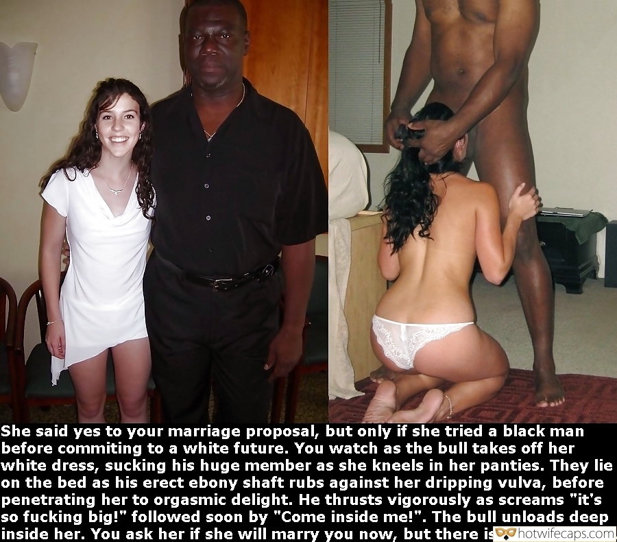 Vacation Cuckold Stories Breeding Blowjob BBC hotwife caption: She said yes to your marriage proposal, but only if she tried a black man before commiting to a white future. You watch as the bull takes off her white dress, sucking his huge member as she kneels in her...