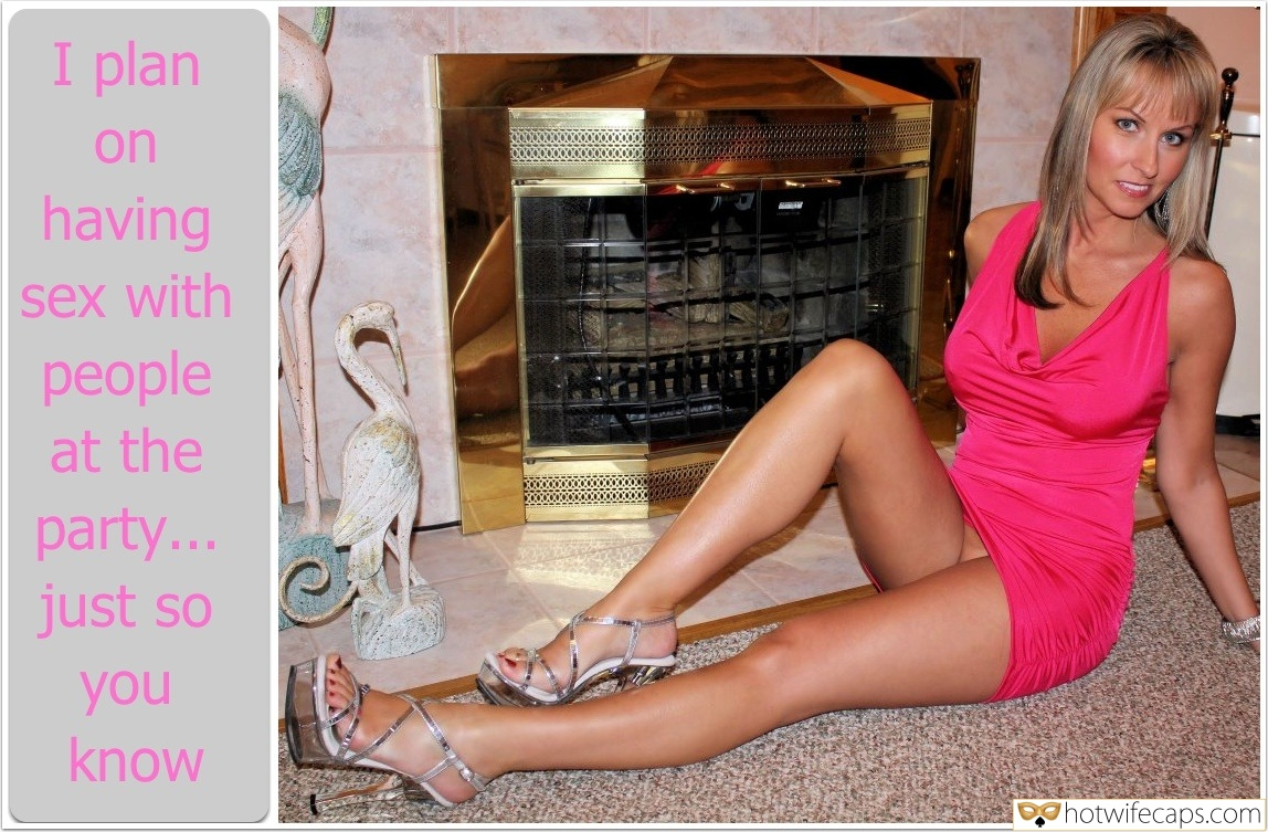 No Panties Dirty Talk  hotwife caption: I plan on having sex with people at the party… just so you know Pantyless Mature Wife Posing by the Fireplace