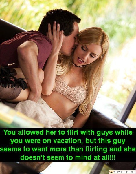 Sexy Memes hotwife caption: You allowed her to flirt with guys while you were on vacation, but this guy seems to want more than flirting and she doesn't seem to mind at all!! Cougar hotwife flirtatious bull captions Pervert Flirting With Smoking Hot Blonde