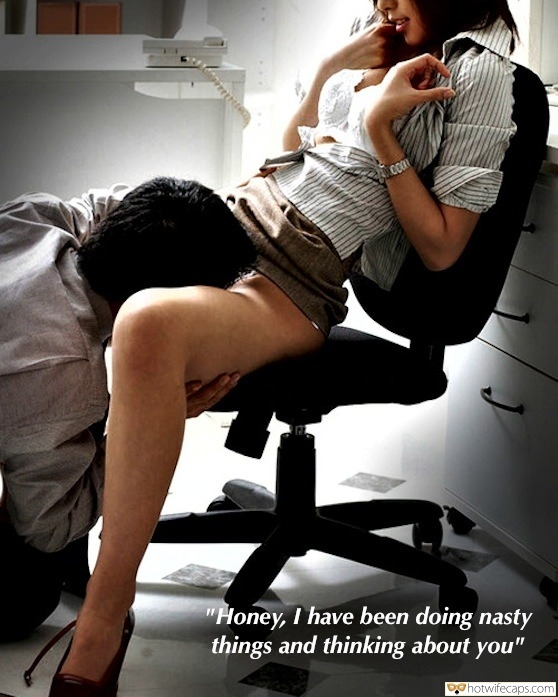 "Dirty Talk Cheating Boss hotwife caption: ""Honey, I have been doing nasty things and thinking about you"" Sexy Secretary Gets Her Cunt Eaten Out by Her Boss"