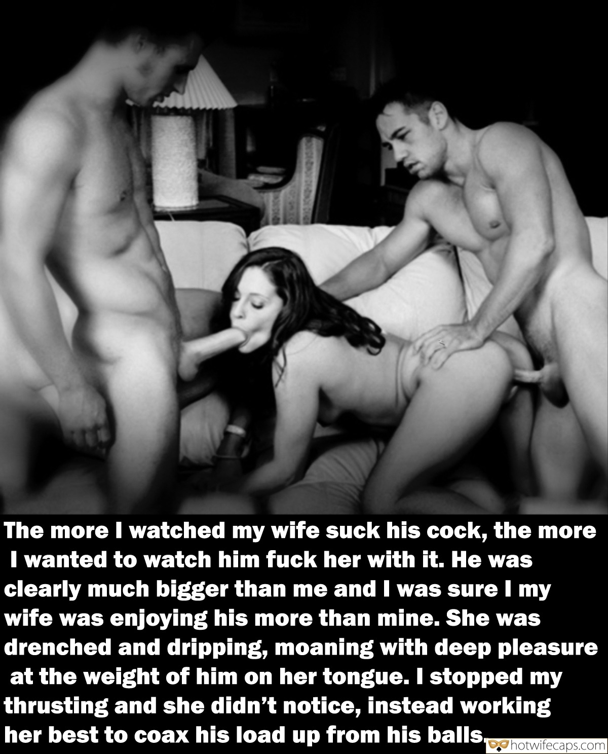 Wife Sharing Threesome Bigger Cock hotwife caption: The more I watched my wife suck his cock, the more I wanted to watch him fuck her with it. He was clearly much bigger than me and I was sure I my wife was enjoying his more than mine....