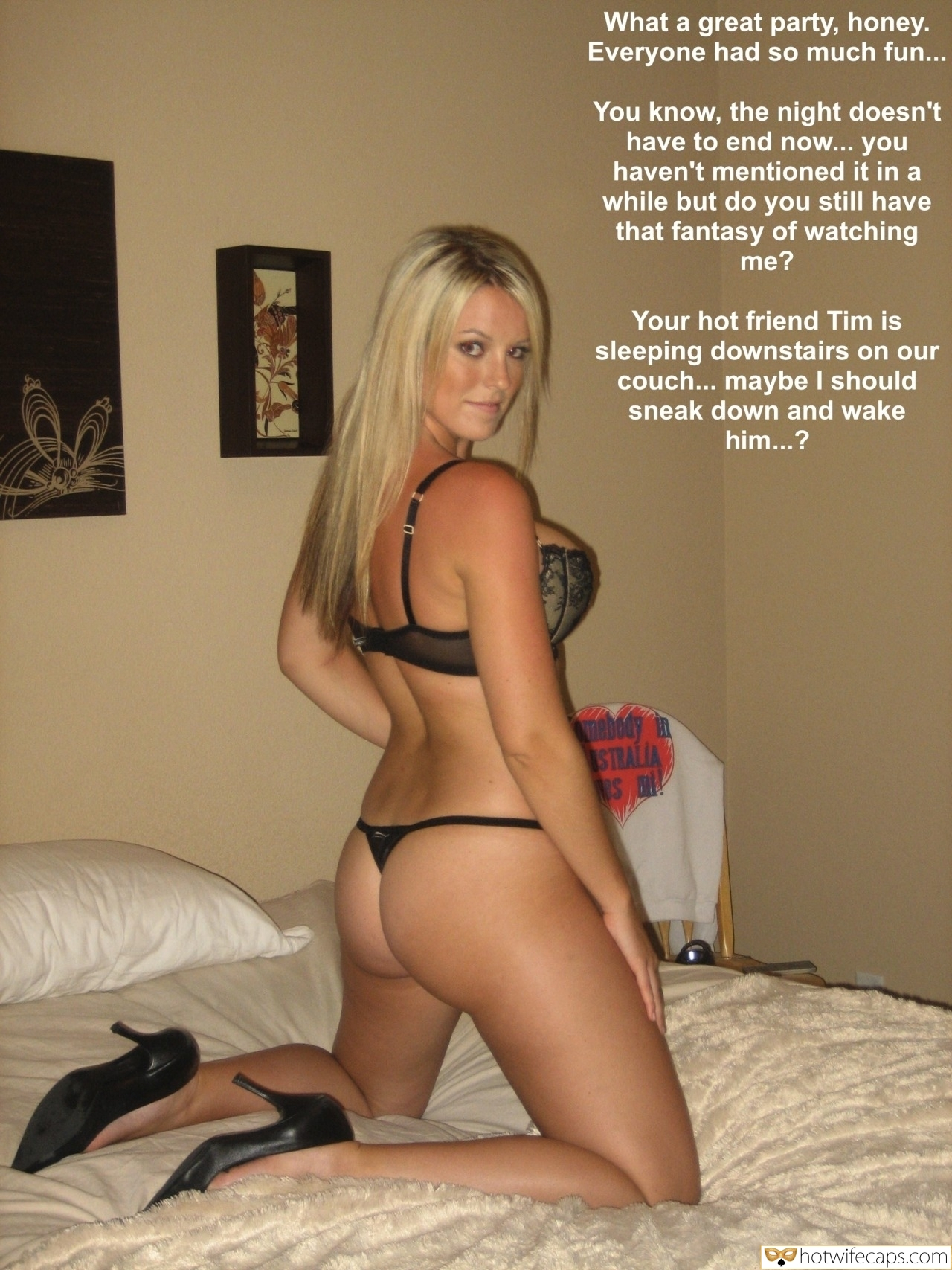 Sexy Memes Friends Dirty Talk hotwife caption: What a great party, honey. Everyone had so much fun… You know, the night doesn't have to end now… you haven't mentioned it in a while but do you still have that fantasy of watching me? Your hot friend Tim...