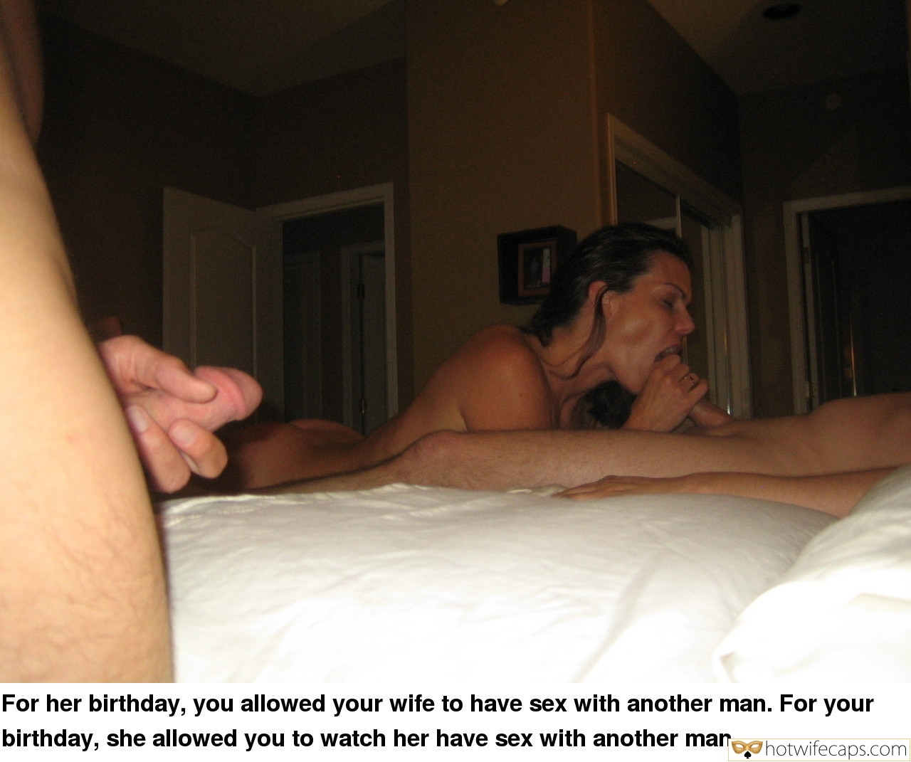 Wife Sharing Masturbation Blowjob hotwife caption: For her birthday, you allowed your wife to have sex with another man. For your birthday, she allowed you to watch her have sex with another man. Wife Deepthroats Stranger While Husband Jerking