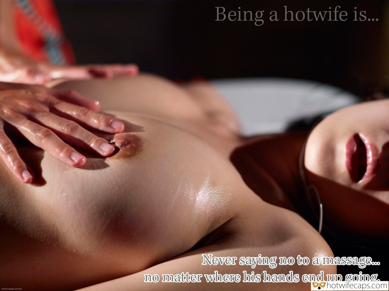 Challenges and Rules hotwife caption: Being a hotwife is.. Never saying no to a massage.o no matter where his hands end up going. PHOTOCHEORE-ARTCOM Wife Massaging Her Oily Tits and Nipples