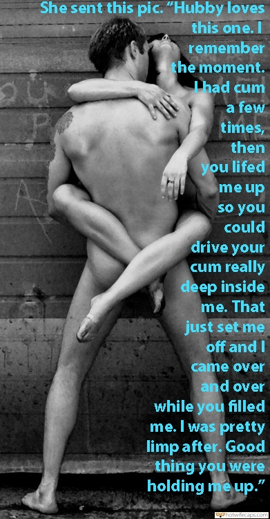 "Impregnation Barefoot  hotwife caption: She sent this pic. ""Hubby loves this one. I remember the moment. Thad cum a few times, then you lifed me up so you could drive your cum really deep inside me. That just set me off and I came..."