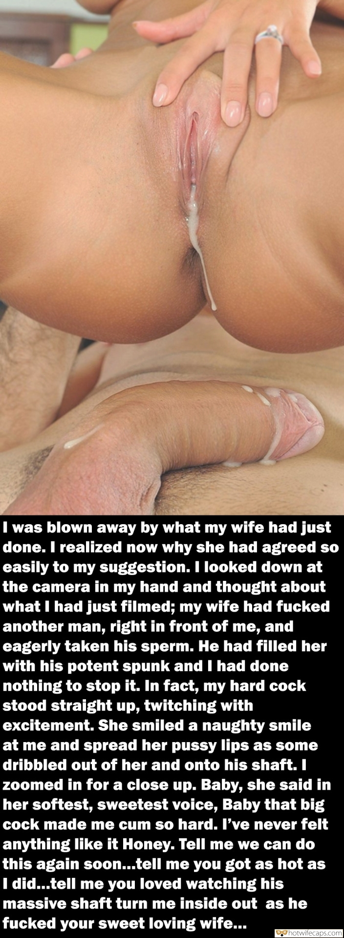 Cum Slut Creampie Breeding Bigger Cock hotwife caption: I was blown away by what my wife had just done. I realized now why she had agreed so easily to my suggestion. I looked down at the camera in my hand and thought about what I had just filmed;...