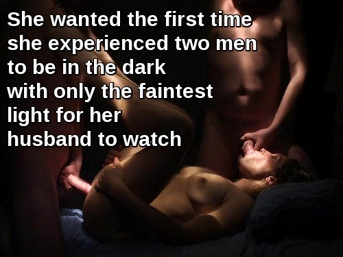 Wife Sharing Threesome Blowjob  hotwife caption: She wanted the first time she experienced two men to be in the dark with only the faintest light for her husband to watch The Moment 2 Cocks Touching My Wive's Body