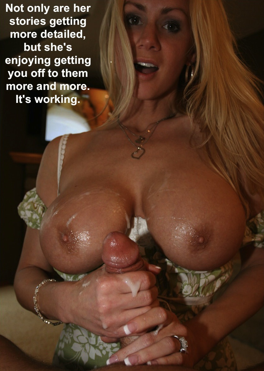 Handjob Cum Dump  hotwife caption: Not only are her stories getting more detailed, but she's enjoying getting you off to them more and more. It's working. Cum Explosion When Slut Confessed Her Cheating Affair
