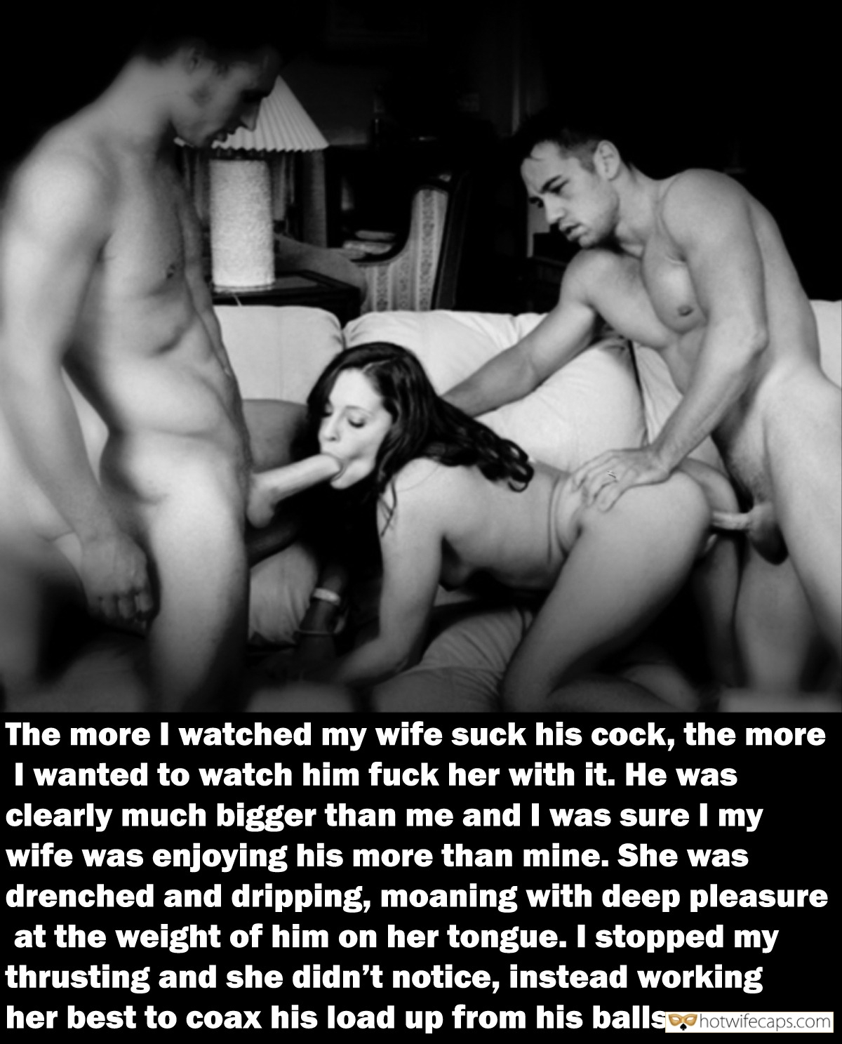 Wife Sharing Threesome Bull Bigger Cock  hotwife caption: The more I watched my wife suck his cock, the more I wanted to watch him fuck her with it. He was clearly much bigger than me and I was sure my wife was enjoying his more than mine. She...