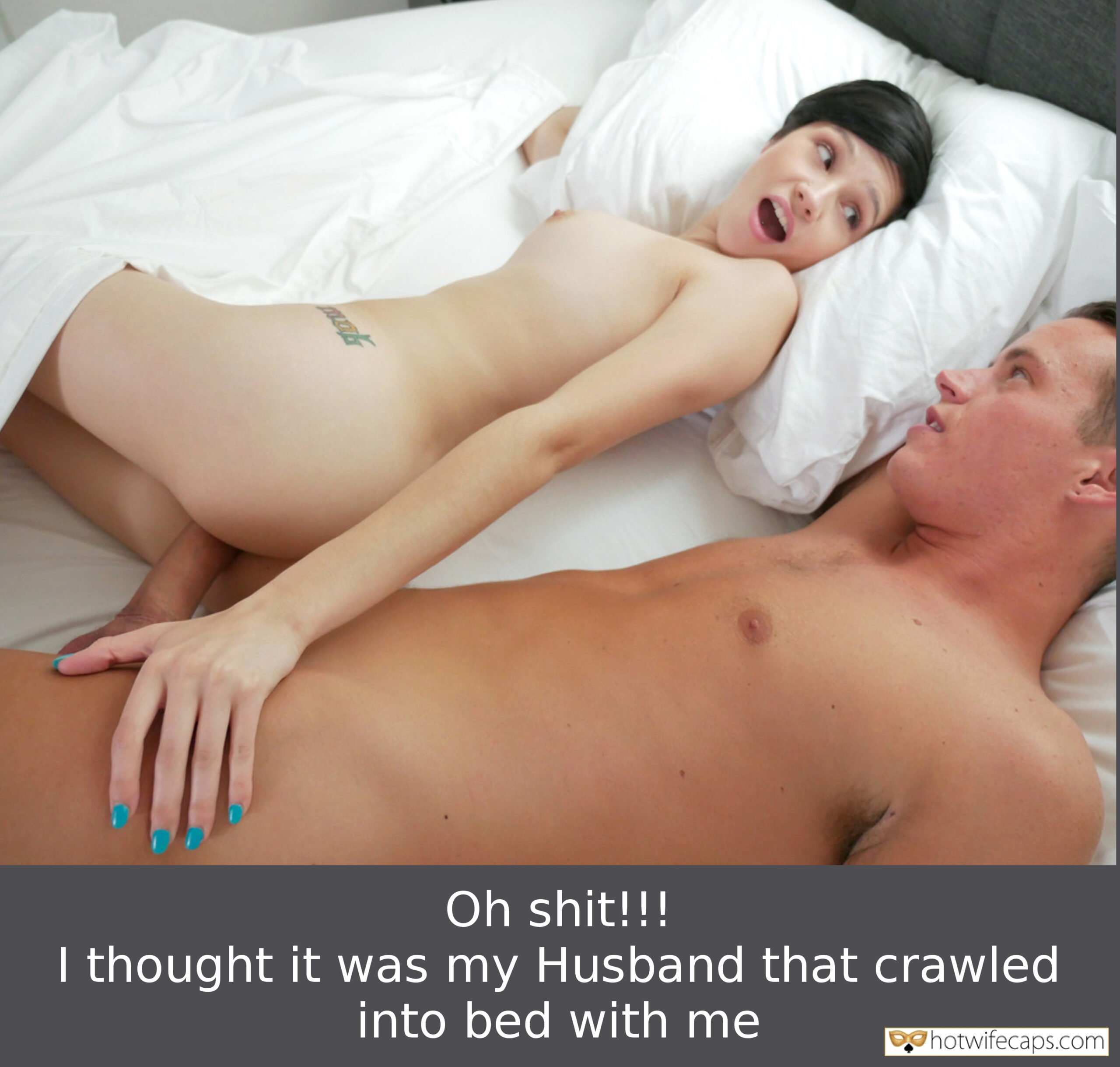 Friends Cheating hotwife caption: Oh shit!!! I thought it was my Husband that crawled into bed with me Husband's Friend Surprised Naked Wife in Bed