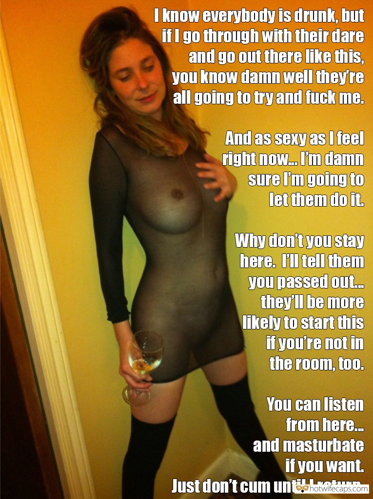 Public No Panties Friends Flashing Dirty Talk hotwife caption: I know everybody is drunk, but if I go through with their dare and go out there like this, you know damn well they're all going to try and fuck me. And as sexy as I feel right now. I'm...