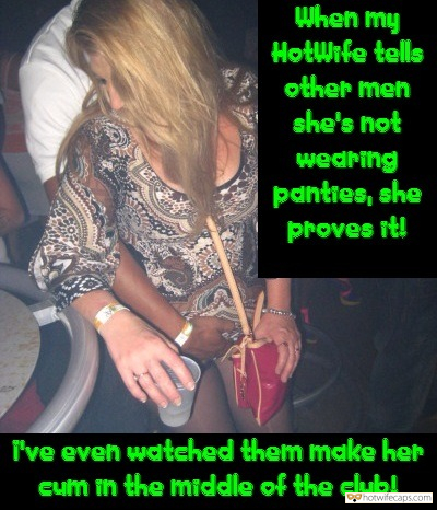 wife exposed wife no panties  hotwife caption Horny blonde hotwife cum in the middle of the club