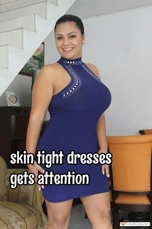 Sexy Memes Challenges and Rules hotwife caption: skin-tight dresses get attention Hot MILF in Purple Tight Dress